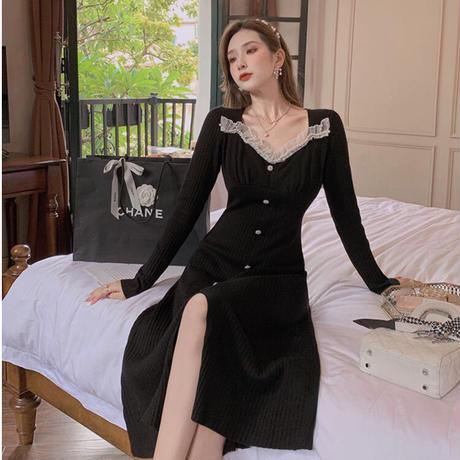 Princess frill motif rib knit dress(No.030919)