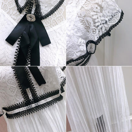Ribbon brooch lace long dress(No.300696)