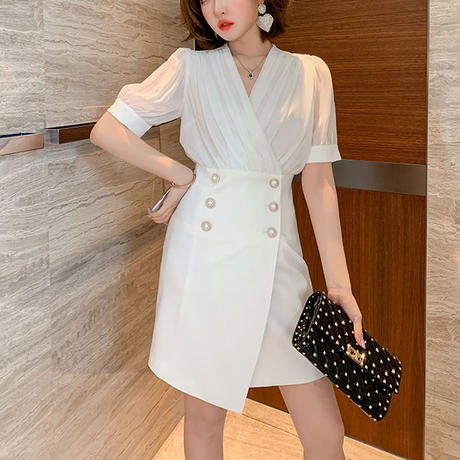 Cache-coeur double button dress(No.301265)【white , black】