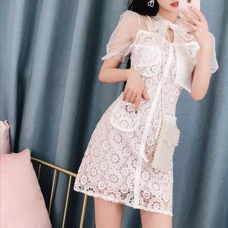 Flower lace docking dress(No.300654)