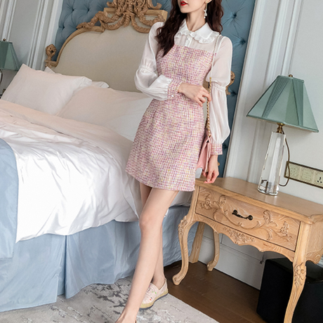 Dreamy pink tweed dress(No.300733)