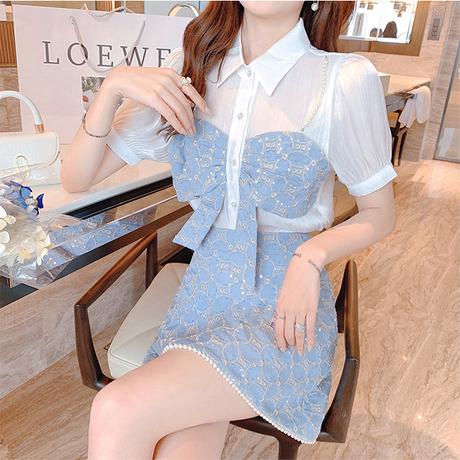 Big ribbon blouse & box skirt setup(No.302124)