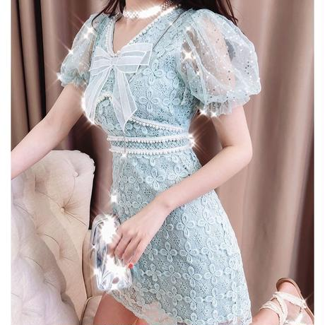 Round puff sleeve ribbon dress(No.300642)