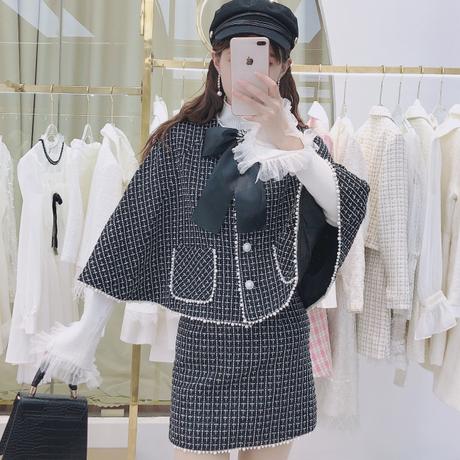 Snow brooch check tweed cape setup(No.301676)【white , black】