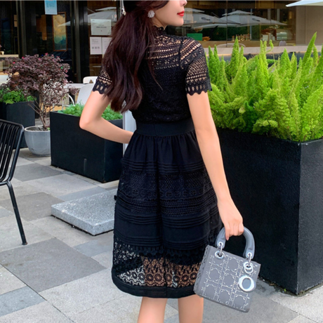 Cutting black flower lace dress(No.301457)
