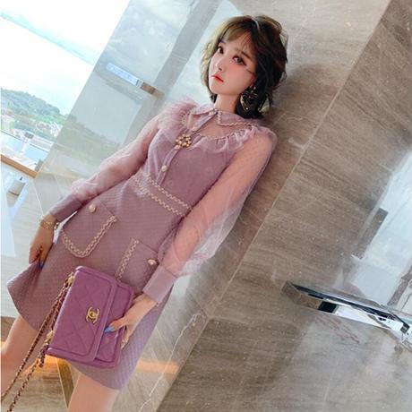 Cream purple dot tulle docking dress(No.030921)