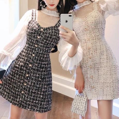 Heart cut tweed dress & blouse set(No.300766)【black , white】