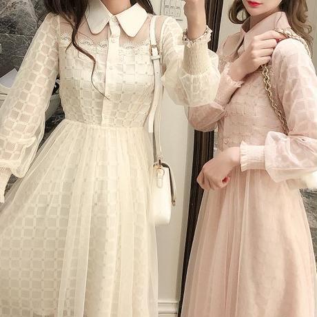 一部即納❤︎Block check lacy long dress(No.300971)【3color】