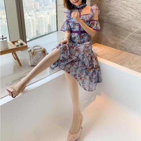 Embroidery flower lace dress(No.301151)