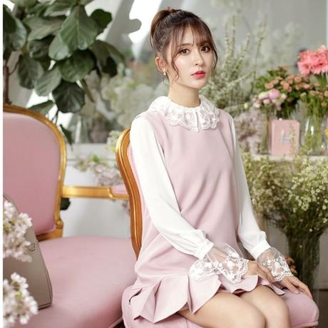 lace collar blouse & pleats OP(No.300388)