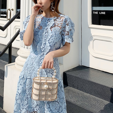 Blue flower cutting long dress(No.301479)