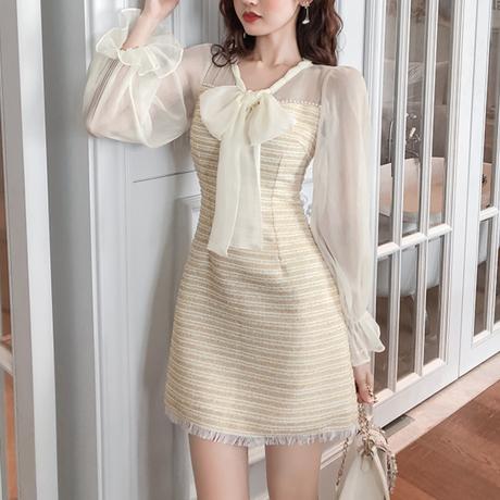 Lemon tweed ribbon dress(No.300730)