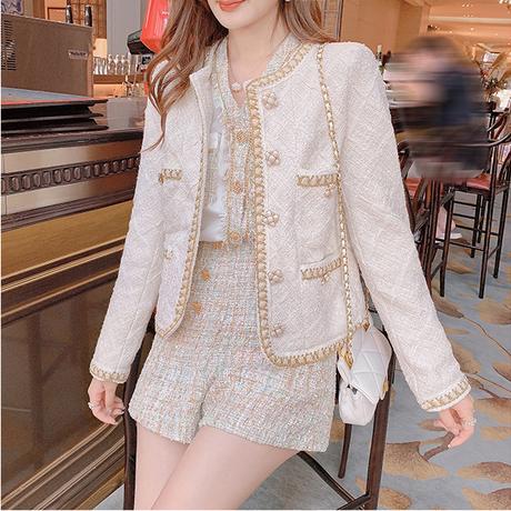 Design pearl tweed classic jacket(No.030809)
