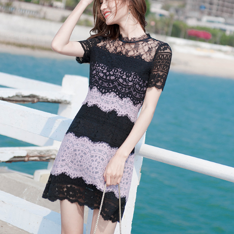 Two tone sensual lacy dress(No.301481)