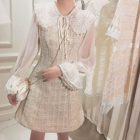 Pearl bijjou collar tweed dress(No.300786)