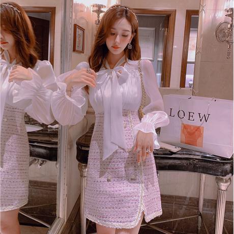Sakura pink tweed blouse docking setup(No.030807)