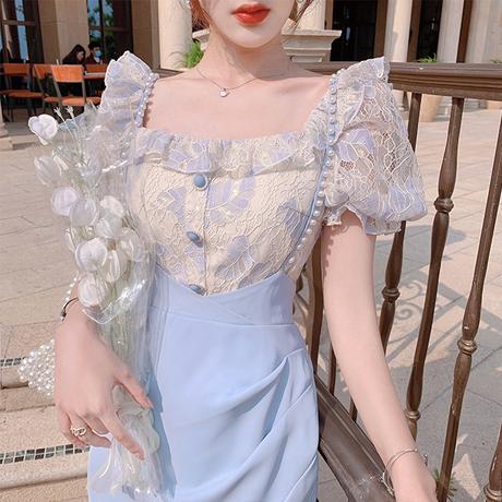 Mellow fleur blouse & slit skirt set(No.302231)