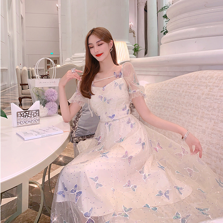Muse butterfly lacy long dress(No.301272)