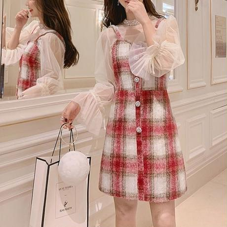 Melt check bijjou button dress(No.300790)