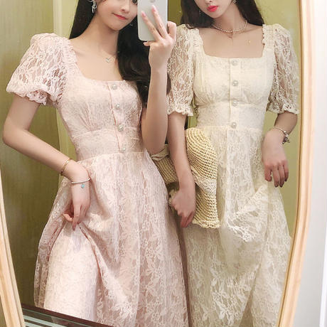 Puff sleeve dreamy lace long dress(No.301206)【3color】