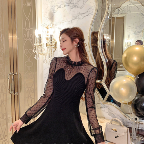 Heart cut chic black knit dress(No.301951)【black】
