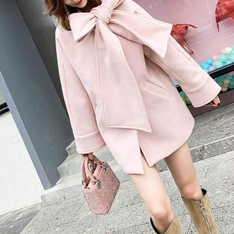 一部即納♡big ribbon melton coat (No.300565)