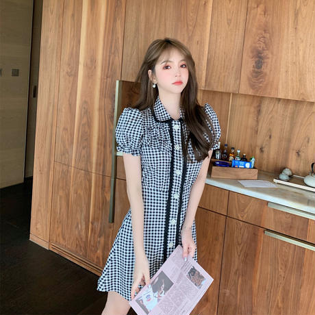 Pearl button gingham check dress(No.301447)