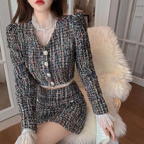 Puff sleeve lady tweed setup(No.301826)