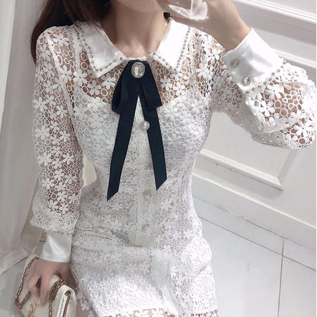 Flower lacy ribbon brooch dress(No.301043)【3color】