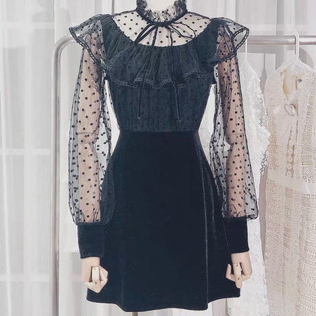 Dot lace docking dress(No.300865)【2color】