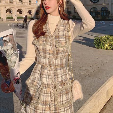 Retro check tweed vest dress set(No.301832)