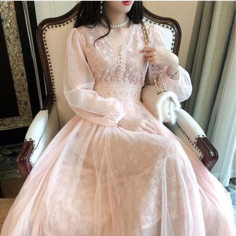一部即納❤︎Star lace long tulle dress(No.300990)【2color】