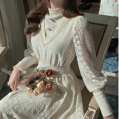 Turtle crochet lacy long dress(No.301831)