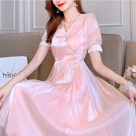 Heart button satin long dress(No.301284)