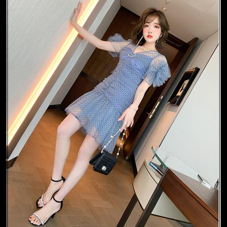 Romantic dot tulle frill sleeve dress(No.302252)