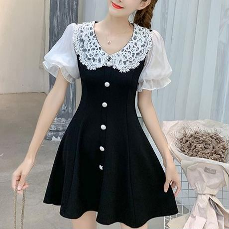 Round lace collar dress(No.300467)