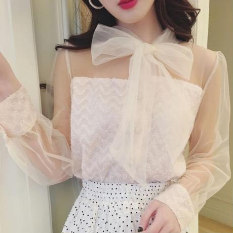 tulle ribbon blouse(No.300583)
