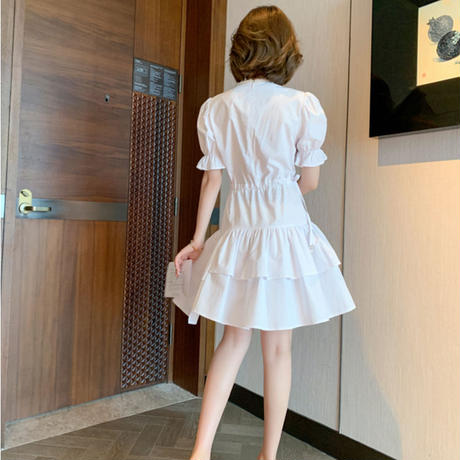 Petite pearl line cache-coeur dress(No.301290)【white , pink】