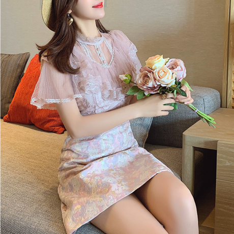 Muse oriental fabric docking dress(No.302246)【2color】