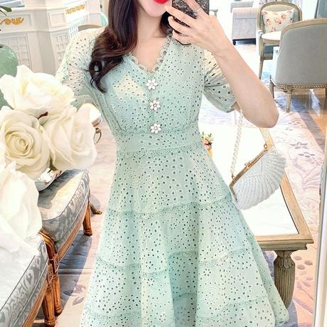 一部即納♡Ice mint flower button dress(No.300694)