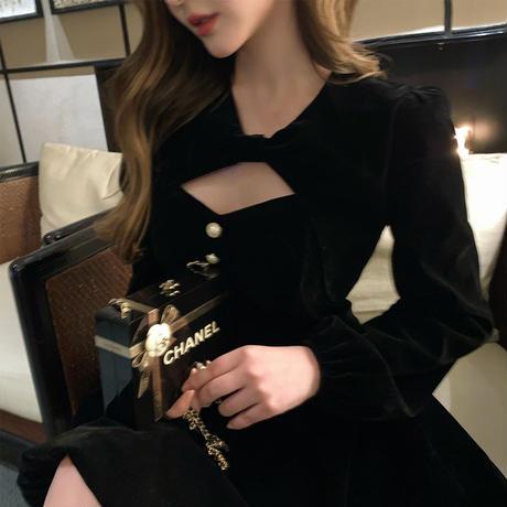 Décolleté open tops & cami flare dress(No.301824)