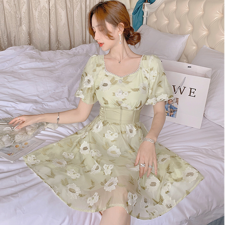 Lady botanical motif chiffon dress(No.302247)