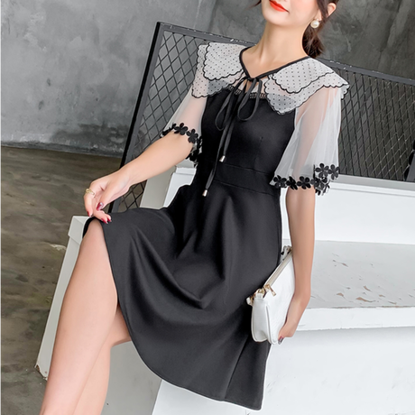 Fairy shoulder black dress(No.301156)