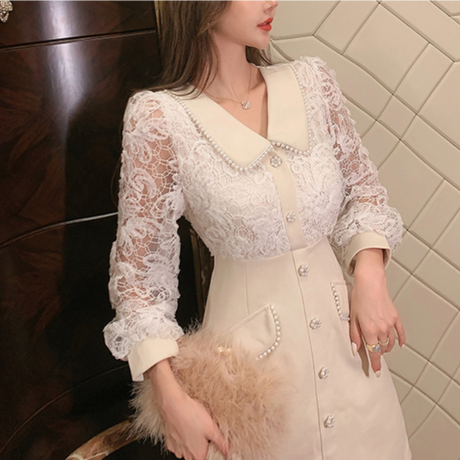 Waffle flower lace docking dress(No.301781)