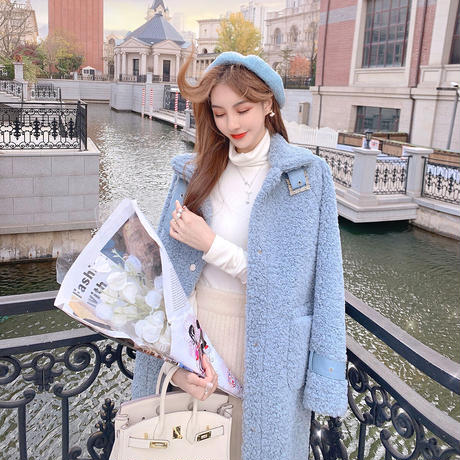 Bijou buckle bore long coat(No.301830)【white , blue】