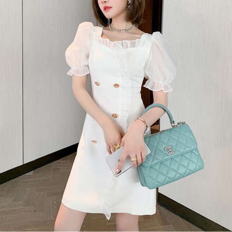 Puff sleeve double button dress(No.301424)
