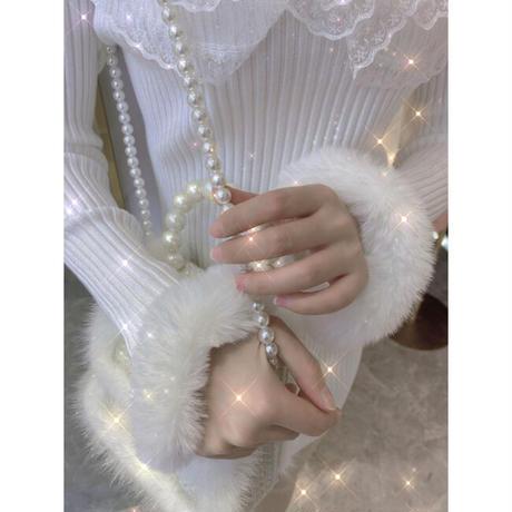 Flower lace high neck knit dress(No.301827)