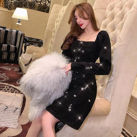 Braided ribbon velour puff sleeve dress(No.301835)