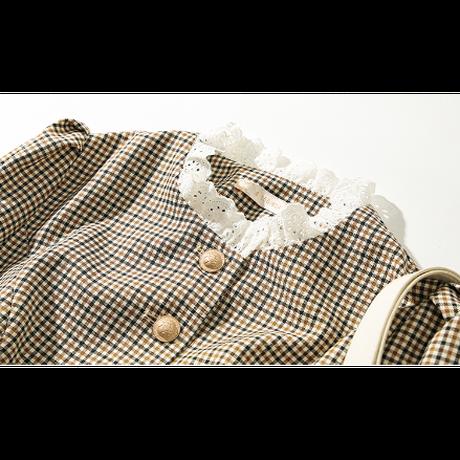 Retro check puff sleeve dress(No.301969)