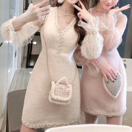 Pearl line moco touch dress & blouse set(No.300877)【2color】